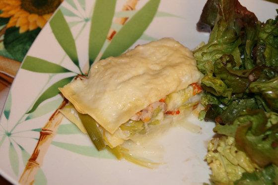 Lasagnes de haddock et poireaux