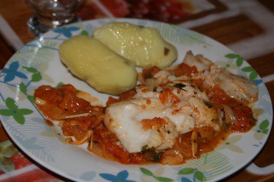 Dos de cabillaud la compot e de tomates for La cuisine facile