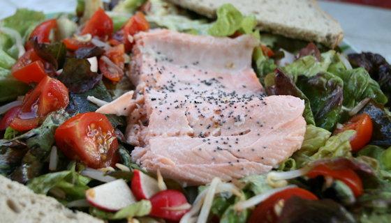 Salade de saumon frais aux radis et pousses de soja