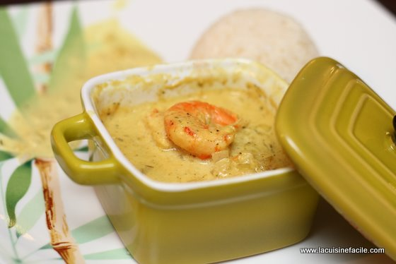 Curry de crevettes express en mini cocotte