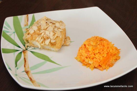 Cabillaud pané aux amandes et sa compotée de carottes