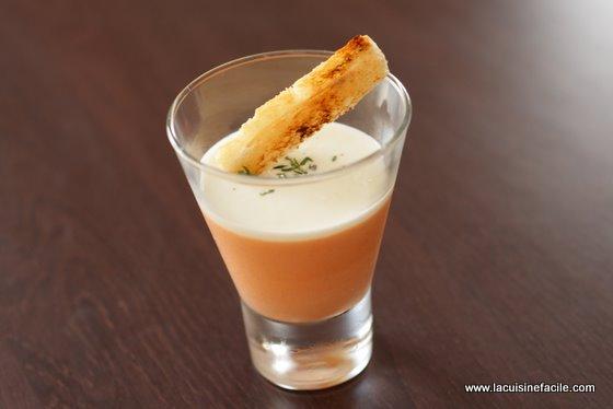 Panna cotta à la tomate et coulis de fromage blanc au citron