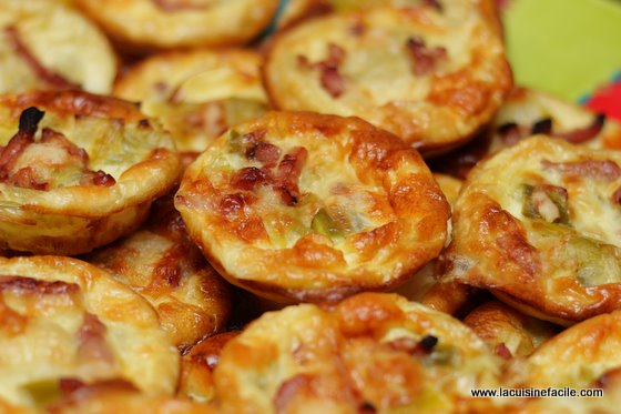 Mini quiche aux lardons et fondue de poireaux