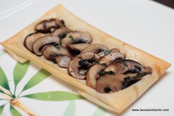 Tartine filo aux champignons persillés