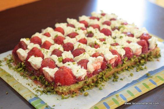 Tarte aux fraises à la crème de pistache selon Christophe Michalak