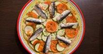 Feuilleté au sardine, tomate et courgette